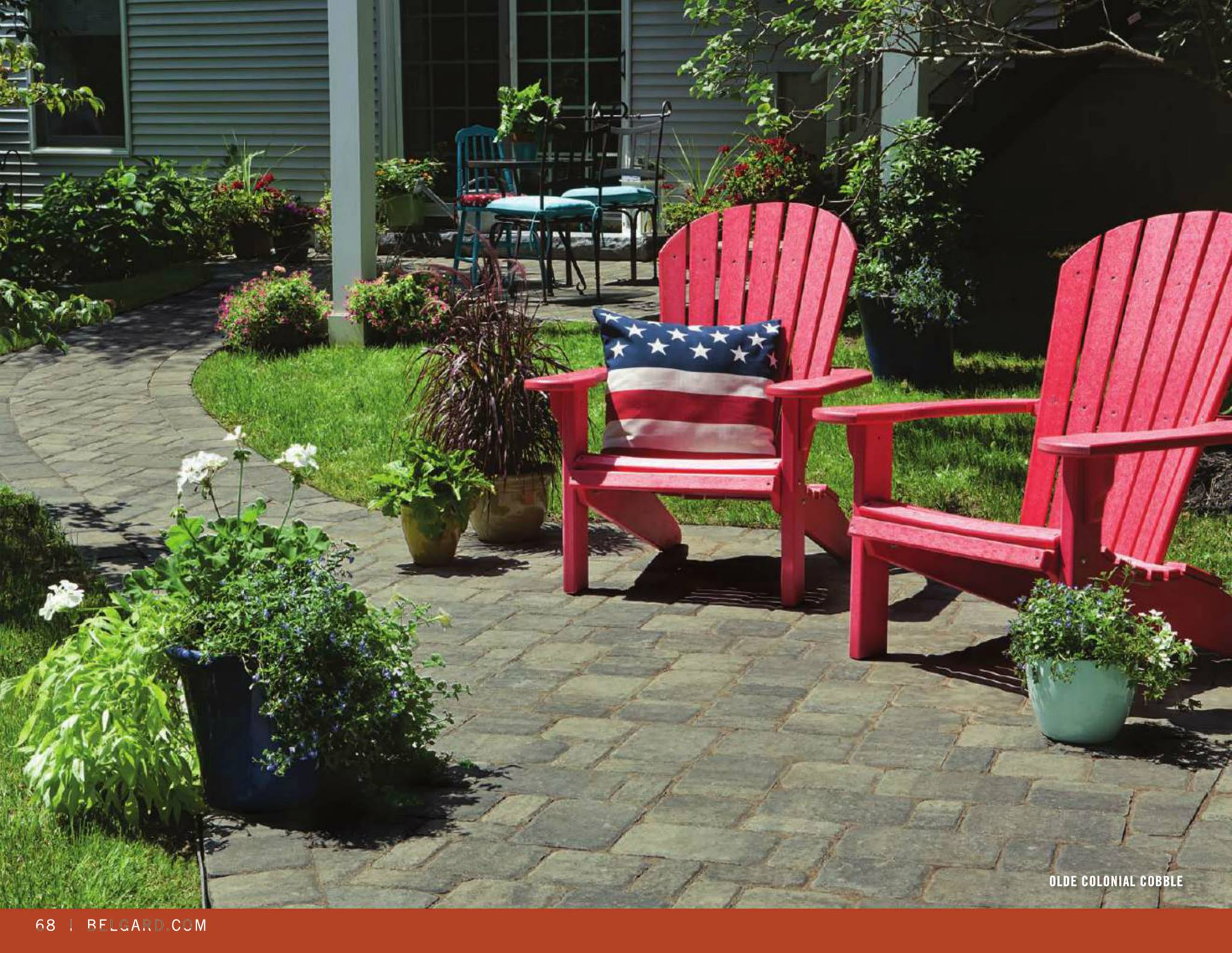 Belgard Carpenter Costin Patio Design Walkway Adirondack chairs