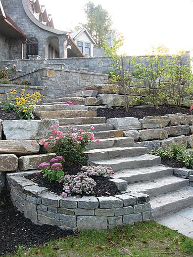 Dramatic Exterior stairway stone steps sloped property