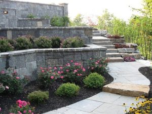 outdoor stone steps stairs planters