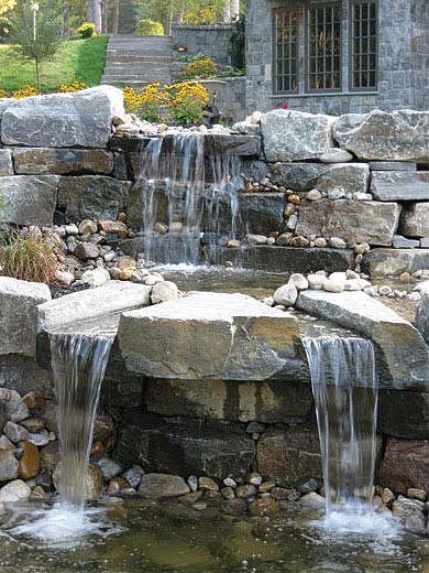 waterfall feature stonework