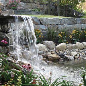 backyard waterfall, carpenter & costin, rutland vt, landscaper rutland