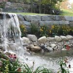 Waterfall retaining wall pond carpenter costin