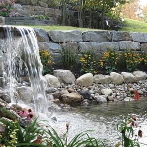 Waterfall retaining wall pond carpenter costin