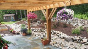 patio, pergola, planters, stone walls, mulch, gardens, storm water diversion