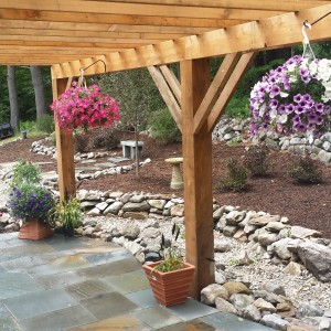patio, pergola, planters, stone walls, mulch, gardens, storm water diversion