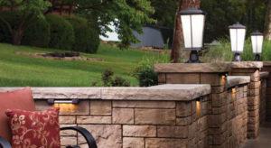 Stone wall in backyard