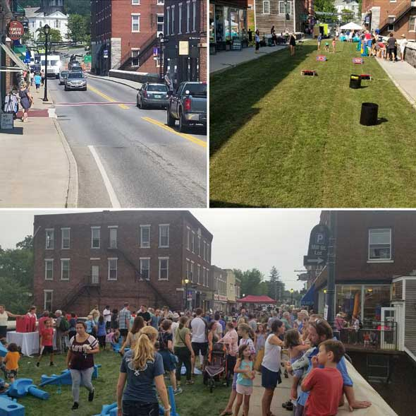 Before-During-After at Middlebury Come Alive Outside Green Streets